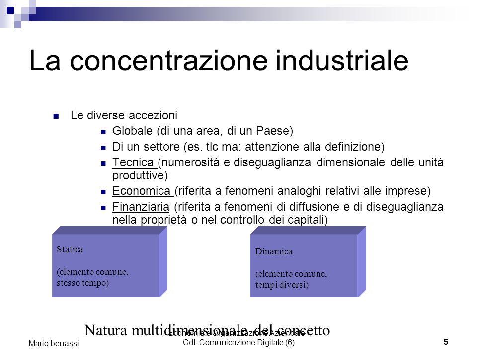 Economia e Organizzazione Aziendale - CdL Comunicazione Digitale (6)5 Mario benassi La concentrazione industriale Le diverse accezioni Globale (di una
