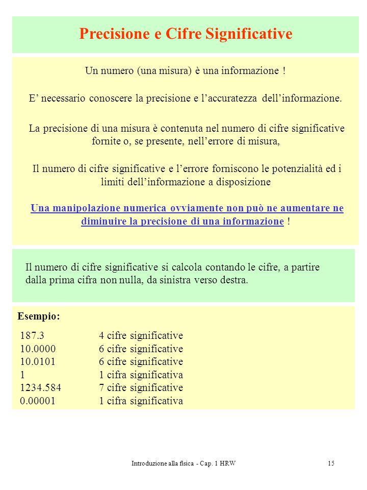 Introduzione alla fisica - Cap. 1 HRW15 Precisione e Cifre Significative Un numero (una misura) è una informazione ! E necessario conoscere la precisi