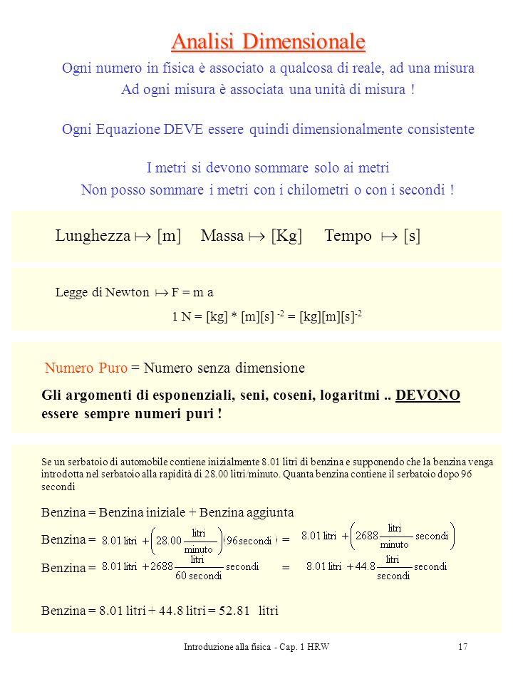 Introduzione alla fisica - Cap. 1 HRW17 Analisi Dimensionale Ogni numero in fisica è associato a qualcosa di reale, ad una misura Ad ogni misura è ass