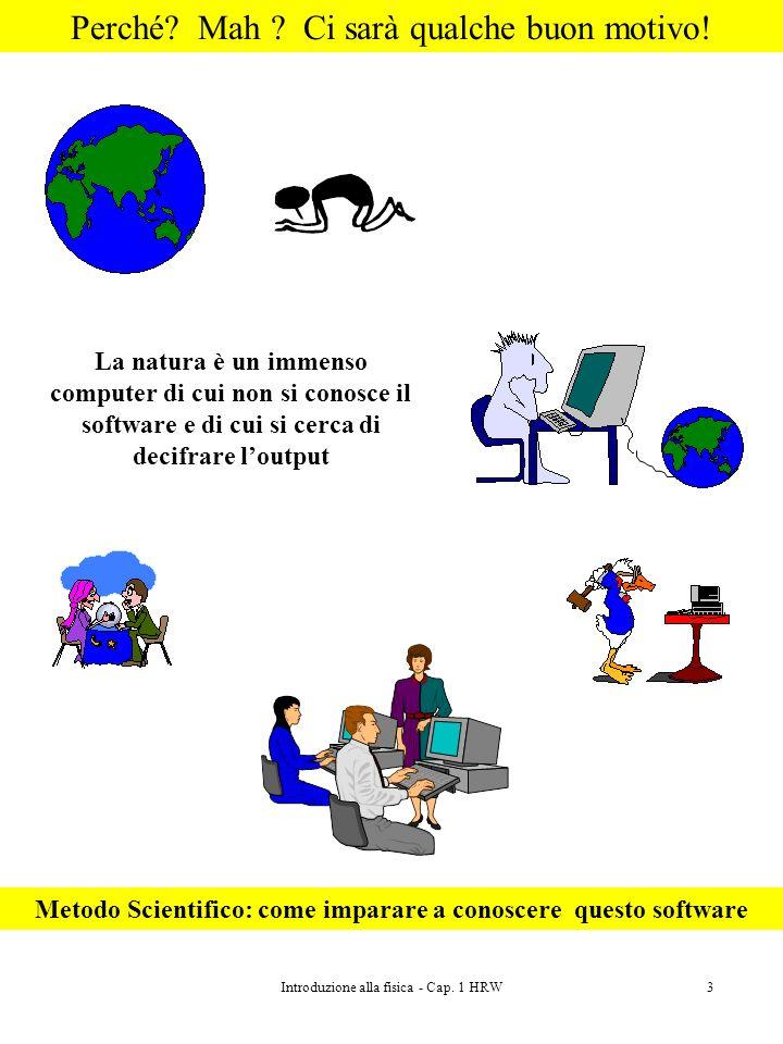 Introduzione alla fisica - Cap. 1 HRW3 Perché? Mah ? Ci sarà qualche buon motivo! La natura è un immenso computer di cui non si conosce il software e