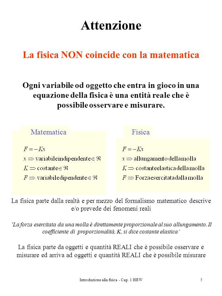 Introduzione alla fisica - Cap. 1 HRW5 Attenzione La fisica NON coincide con la matematica Ogni variabile od oggetto che entra in gioco in una equazio