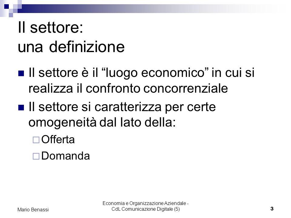 Economia e Organizzazione Aziendale - CdL Comunicazione Digitale (5)3 Mario Benassi Il settore: una definizione Il settore è il luogo economico in cui si realizza il confronto concorrenziale Il settore si caratterizza per certe omogeneità dal lato della: Offerta Domanda