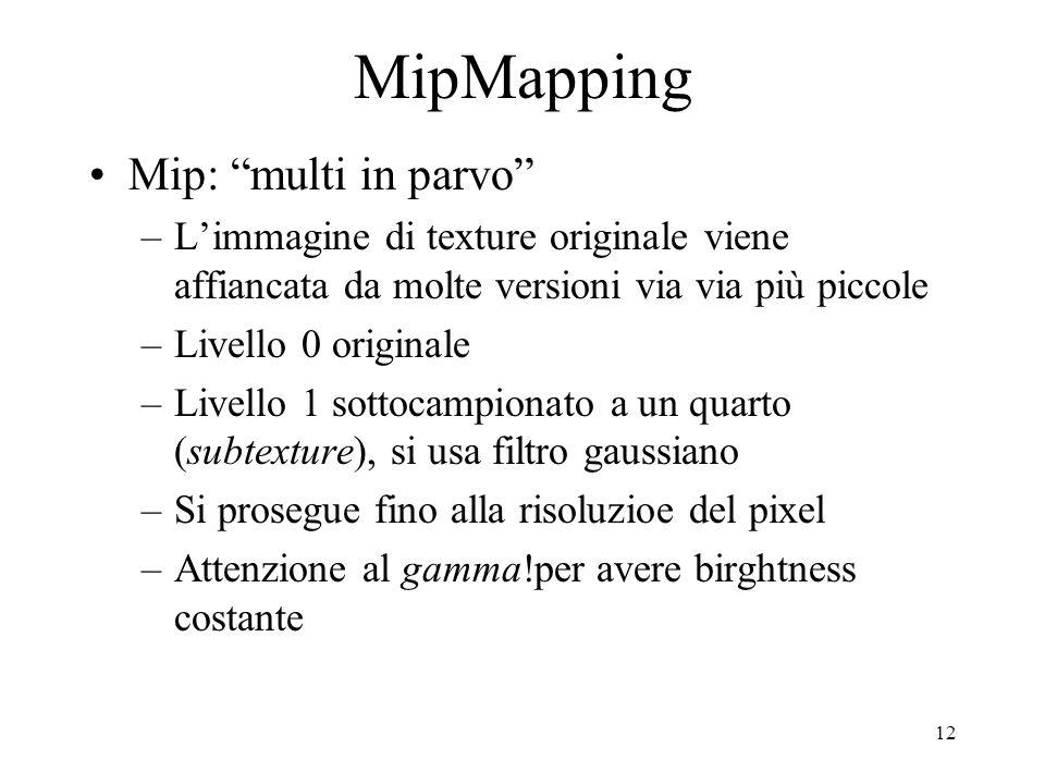 12 MipMapping Mip: multi in parvo –Limmagine di texture originale viene affiancata da molte versioni via via più piccole –Livello 0 originale –Livello