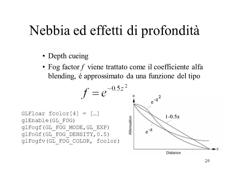 29 Nebbia ed effetti di profondità Depth cueing Fog factor f viene trattato come il coefficiente alfa blending, è approssimato da una funzione del tip