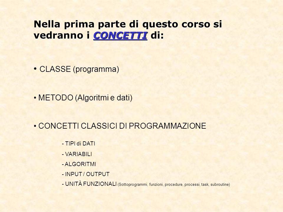 Nella prima parte di questo corso si vedranno i CONCETTI di: CLASSE (programma) METODO (Algoritmi e dati) CONCETTI CLASSICI DI PROGRAMMAZIONE - TIPI di DATI - VARIABILI - ALGORITMI - INPUT / OUTPUT - UNITÀ FUNZIONALI (Sottoprogrammi, funzioni, procedure, processi, task, subroutine)