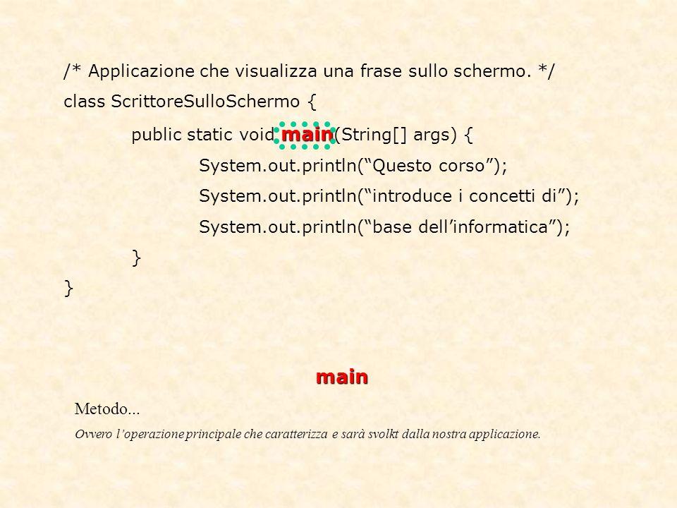 /* Applicazione che visualizza una frase sullo schermo.