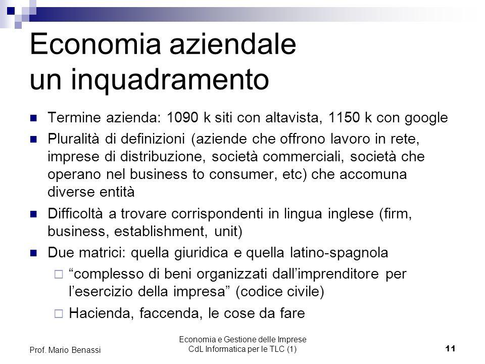 Economia e Gestione delle Imprese CdL Informatica per le TLC (1)11 Prof.