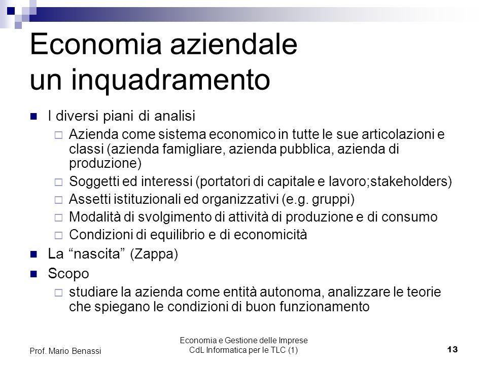 Economia e Gestione delle Imprese CdL Informatica per le TLC (1)13 Prof.