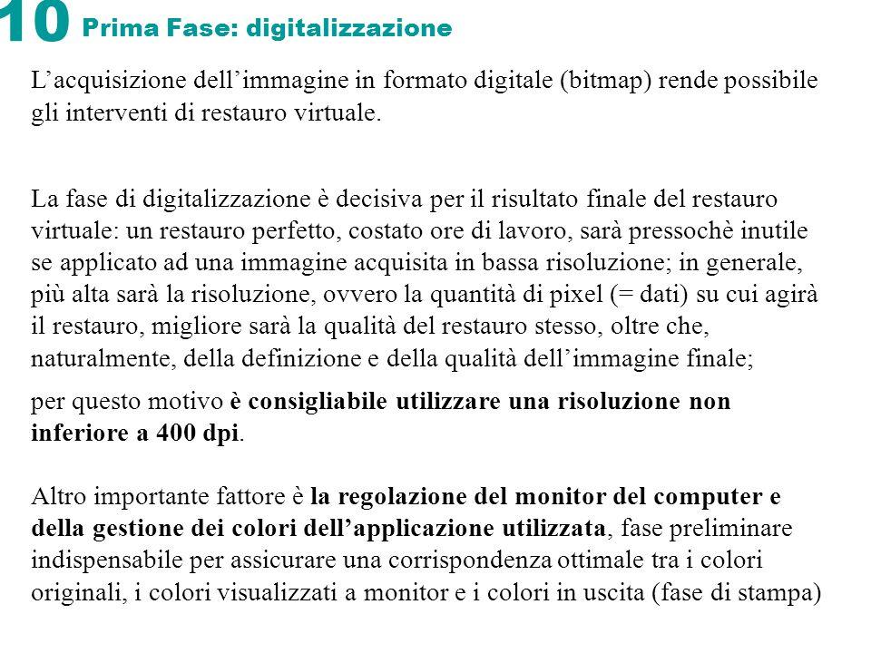 10 Prima Fase: digitalizzazione Lacquisizione dellimmagine in formato digitale (bitmap) rende possibile gli interventi di restauro virtuale. La fase d