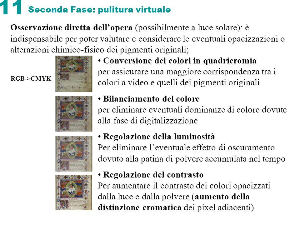 11 Seconda Fase: pulitura virtuale Osservazione diretta dellopera (possibilmente a luce solare): è indispensabile per poter valutare e considerare le