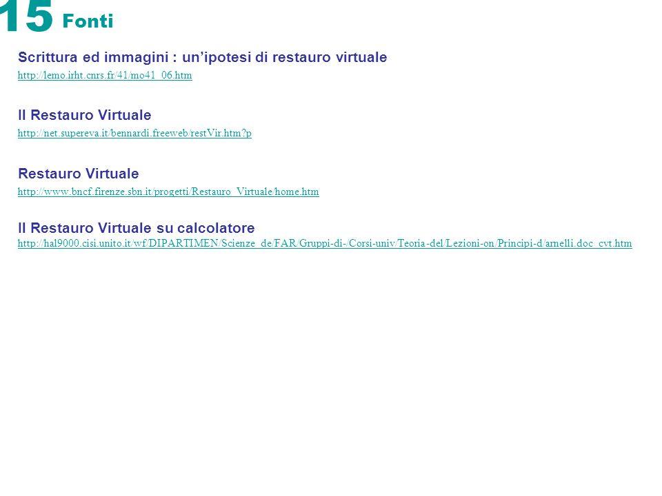 15 Fonti Scrittura ed immagini : unipotesi di restauro virtuale http://lemo.irht.cnrs.fr/41/mo41_06.htm Il Restauro Virtuale http://net.supereva.it/be