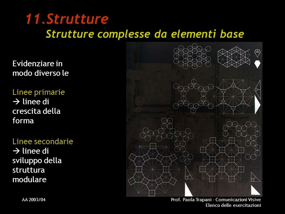 AA 2003/04Prof. Paola Trapani - Comunicazioni Visive Elenco delle esercitazioni 11.Strutture Strutture complesse da elementi base Evidenziare in modo