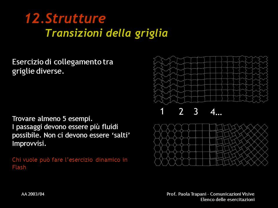 AA 2003/04Prof. Paola Trapani - Comunicazioni Visive Elenco delle esercitazioni 12.Strutture Transizioni della griglia Esercizio di collegamento tra g