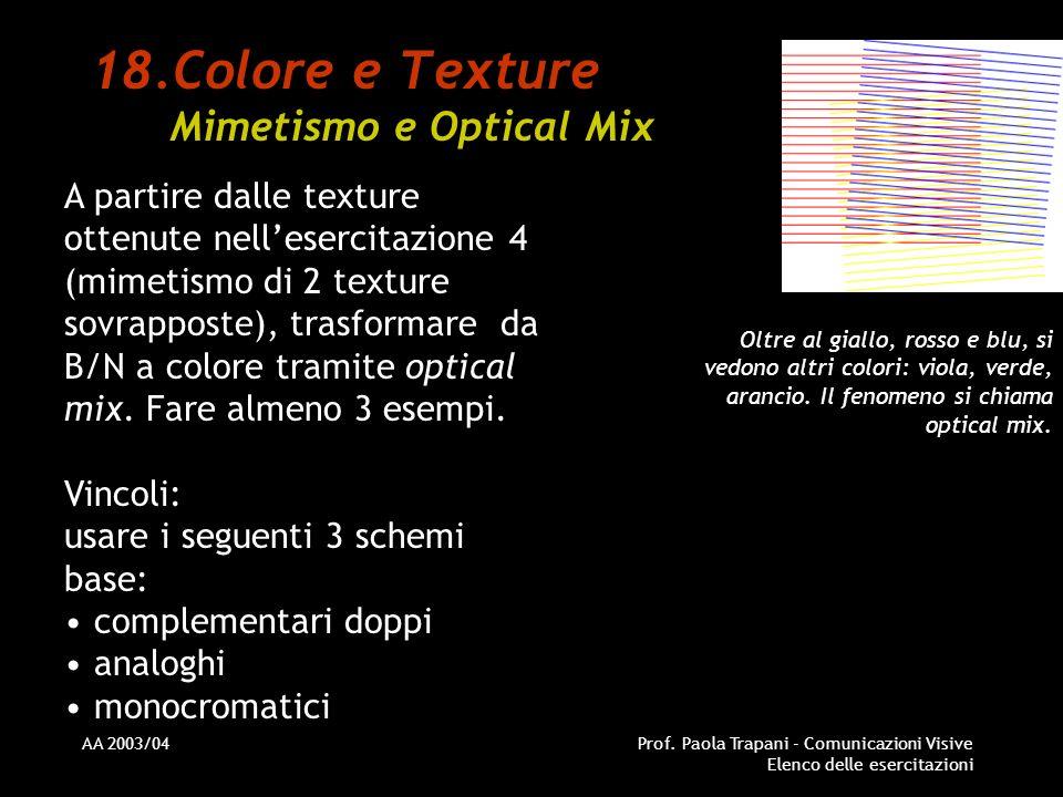 AA 2003/04Prof. Paola Trapani - Comunicazioni Visive Elenco delle esercitazioni 18.Colore e Texture Mimetismo e Optical Mix A partire dalle texture ot