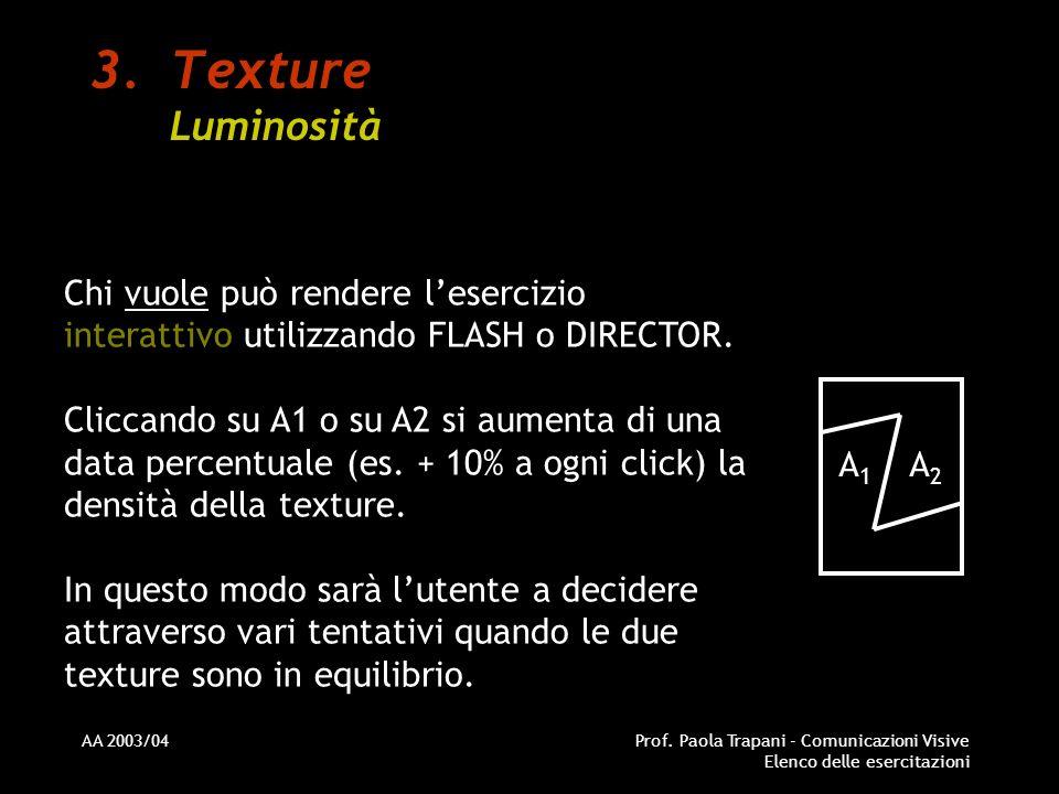 AA 2003/04Prof. Paola Trapani - Comunicazioni Visive Elenco delle esercitazioni 3.Texture Luminosità Chi vuole può rendere lesercizio interattivo util