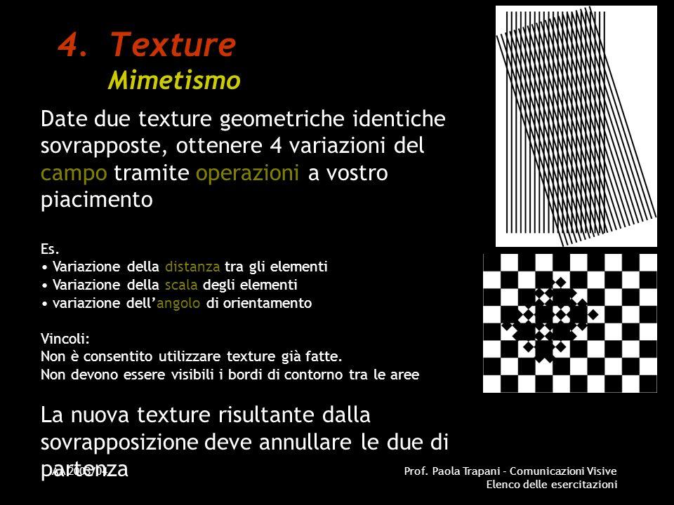 AA 2003/04Prof. Paola Trapani - Comunicazioni Visive Elenco delle esercitazioni 4.Texture Mimetismo Date due texture geometriche identiche sovrapposte