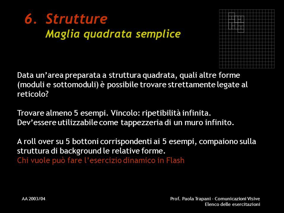 AA 2003/04Prof. Paola Trapani - Comunicazioni Visive Elenco delle esercitazioni 6.Strutture Maglia quadrata semplice Data unarea preparata a struttura