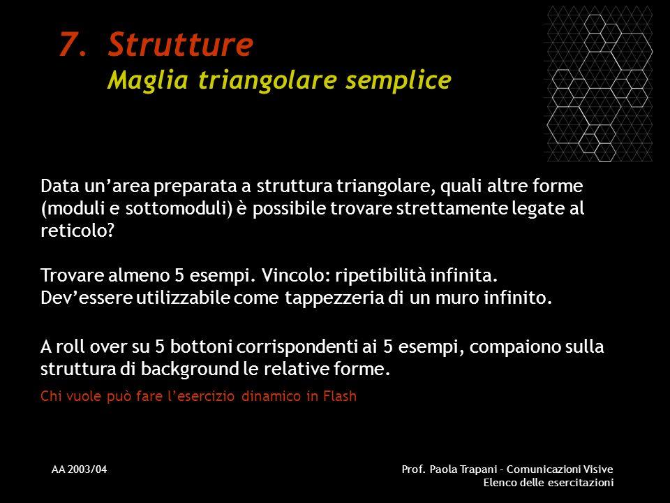 AA 2003/04Prof. Paola Trapani - Comunicazioni Visive Elenco delle esercitazioni 7.Strutture Maglia triangolare semplice Data unarea preparata a strutt