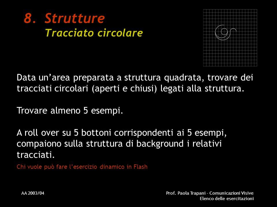 AA 2003/04Prof. Paola Trapani - Comunicazioni Visive Elenco delle esercitazioni 8.Strutture Tracciato circolare Data unarea preparata a struttura quad