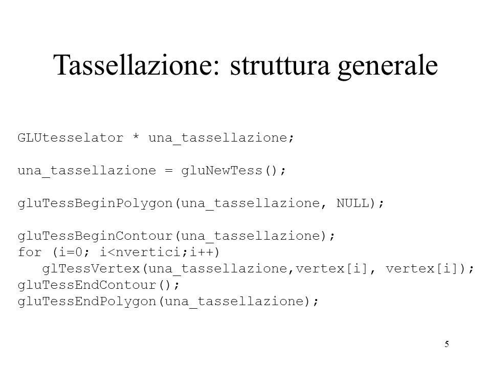 5 GLUtesselator * una_tassellazione; una_tassellazione = gluNewTess(); gluTessBeginPolygon(una_tassellazione, NULL); gluTessBeginContour(una_tassellaz