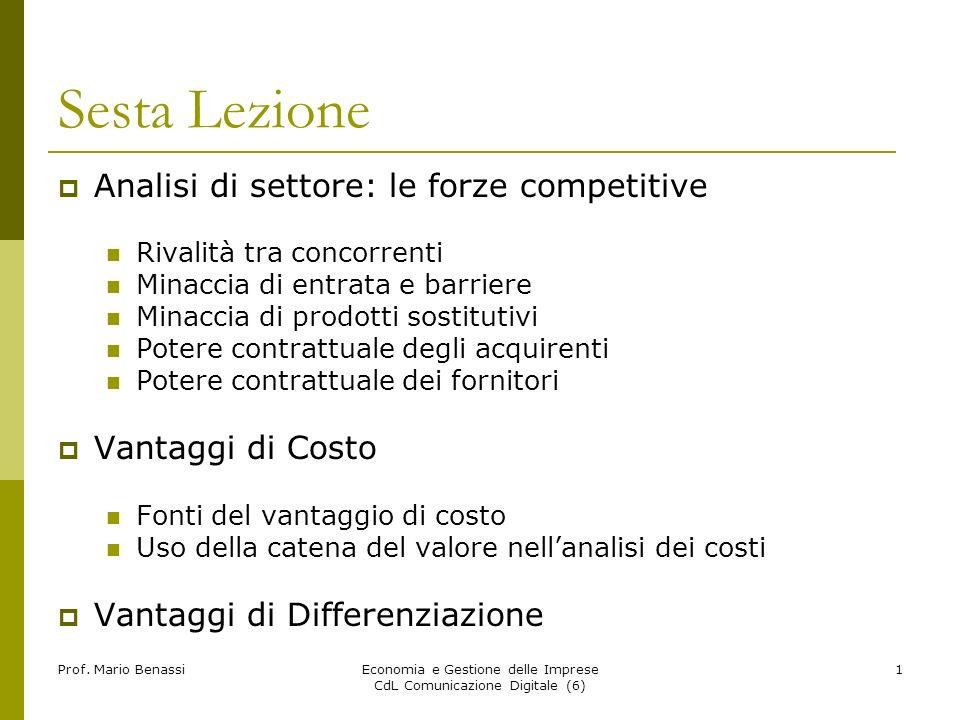 Prof. Mario BenassiEconomia e Gestione delle Imprese CdL Comunicazione Digitale (6) 1 Sesta Lezione Analisi di settore: le forze competitive Rivalità
