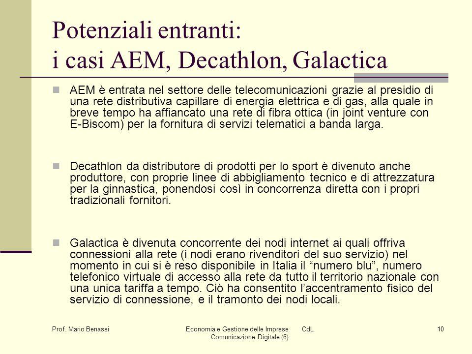 Prof. Mario Benassi Economia e Gestione delle Imprese CdL Comunicazione Digitale (6) 10 Potenziali entranti: i casi AEM, Decathlon, Galactica AEM è en