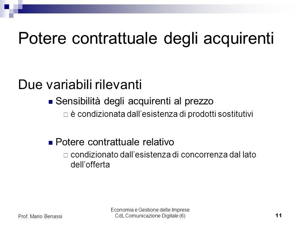 Economia e Gestione delle Imprese CdL Comunicazione Digitale (6)11 Prof. Mario Benassi Potere contrattuale degli acquirenti Due variabili rilevanti Se
