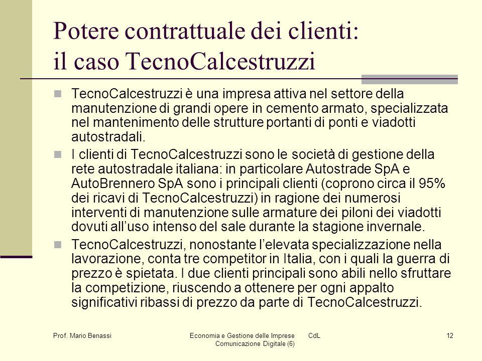 Prof. Mario Benassi Economia e Gestione delle Imprese CdL Comunicazione Digitale (6) 12 Potere contrattuale dei clienti: il caso TecnoCalcestruzzi Tec