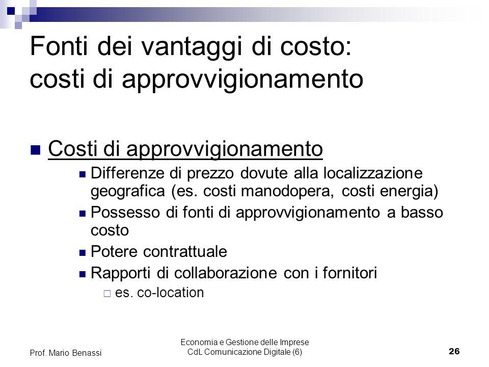 Economia e Gestione delle Imprese CdL Comunicazione Digitale (6)26 Prof. Mario Benassi Fonti dei vantaggi di costo: costi di approvvigionamento Costi
