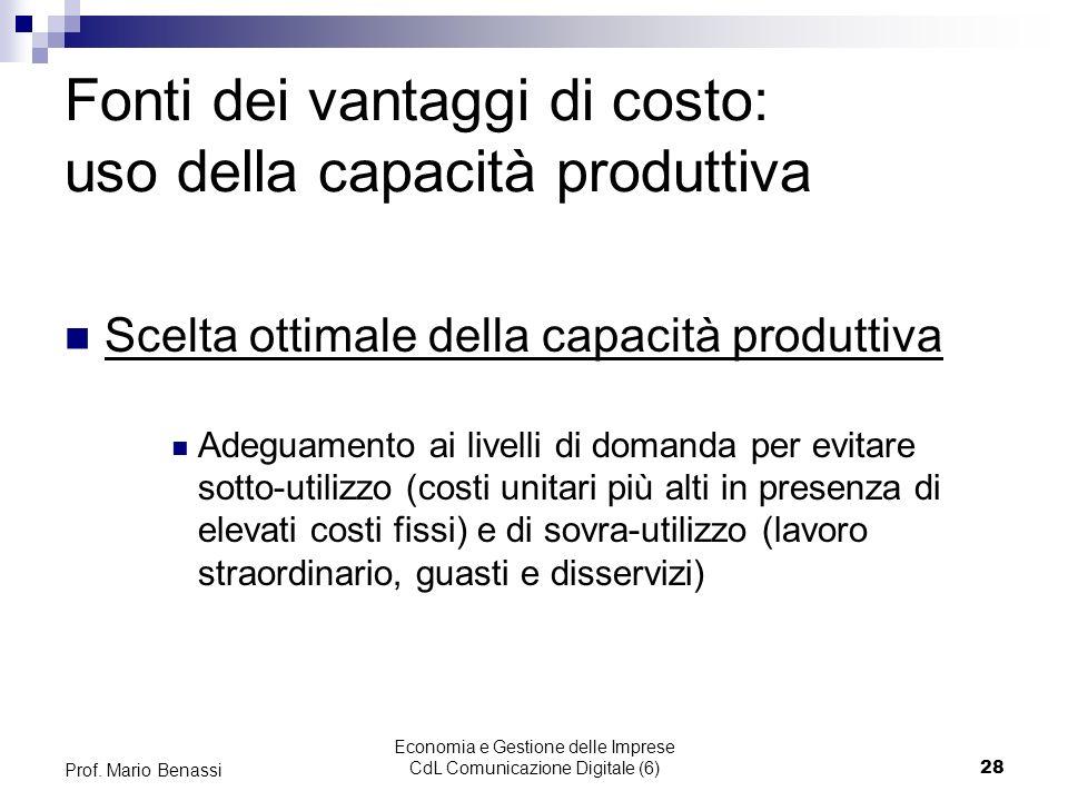 Economia e Gestione delle Imprese CdL Comunicazione Digitale (6)28 Prof. Mario Benassi Fonti dei vantaggi di costo: uso della capacità produttiva Scel