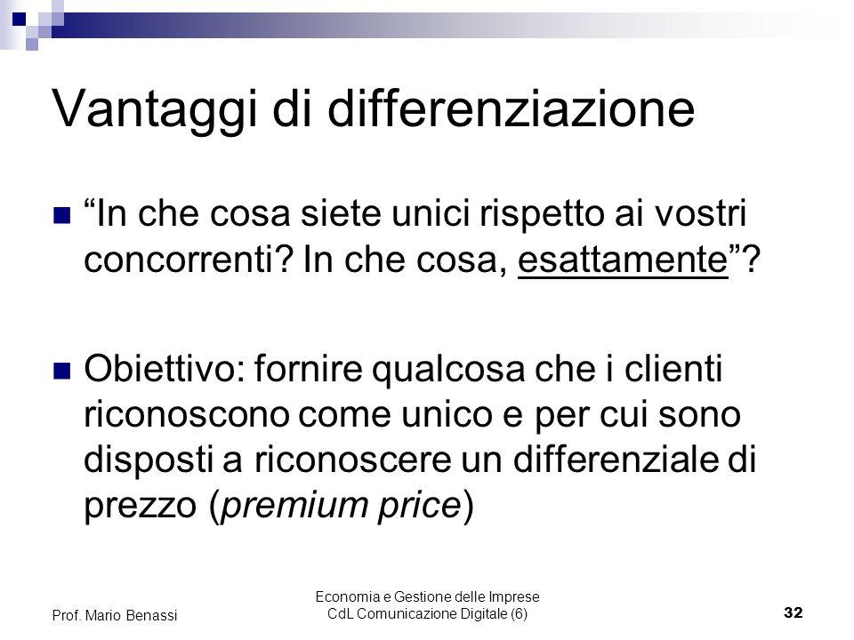 Economia e Gestione delle Imprese CdL Comunicazione Digitale (6)32 Prof. Mario Benassi Vantaggi di differenziazione In che cosa siete unici rispetto a
