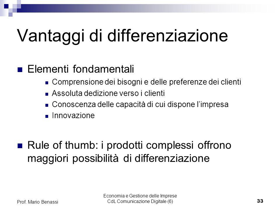 Economia e Gestione delle Imprese CdL Comunicazione Digitale (6)33 Prof. Mario Benassi Vantaggi di differenziazione Elementi fondamentali Comprensione