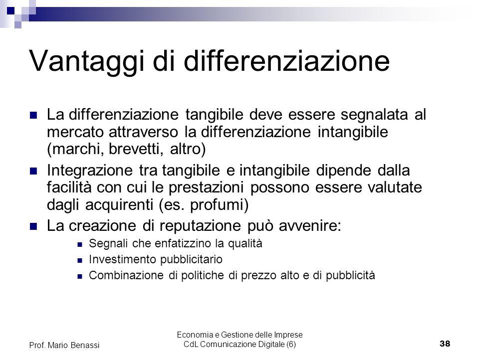 Economia e Gestione delle Imprese CdL Comunicazione Digitale (6)38 Prof. Mario Benassi Vantaggi di differenziazione La differenziazione tangibile deve