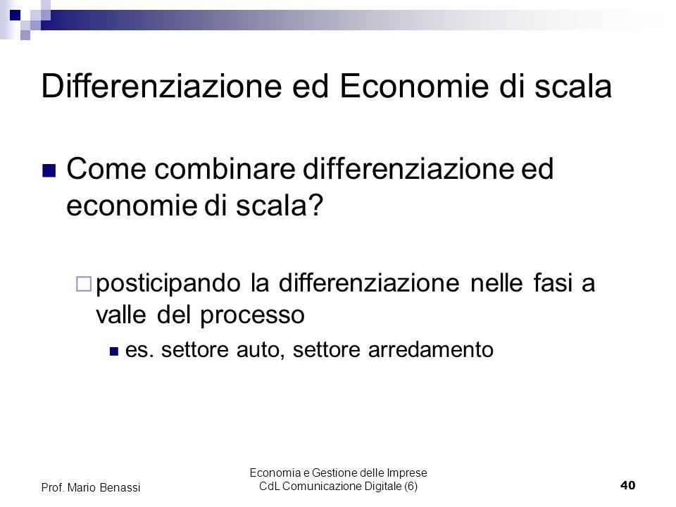 Economia e Gestione delle Imprese CdL Comunicazione Digitale (6)40 Prof. Mario Benassi Differenziazione ed Economie di scala Come combinare differenzi
