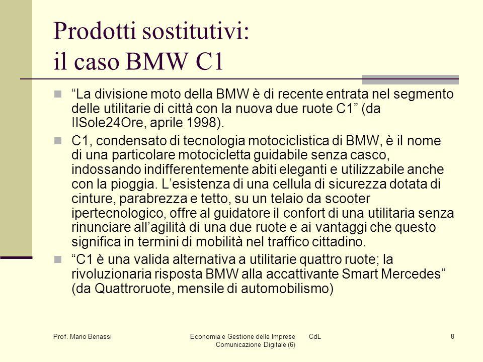 Prof. Mario Benassi Economia e Gestione delle Imprese CdL Comunicazione Digitale (6) 8 Prodotti sostitutivi: il caso BMW C1 La divisione moto della BM