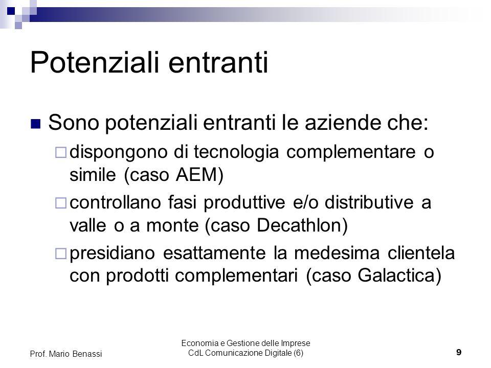 Economia e Gestione delle Imprese CdL Comunicazione Digitale (6)9 Prof. Mario Benassi Potenziali entranti Sono potenziali entranti le aziende che: dis