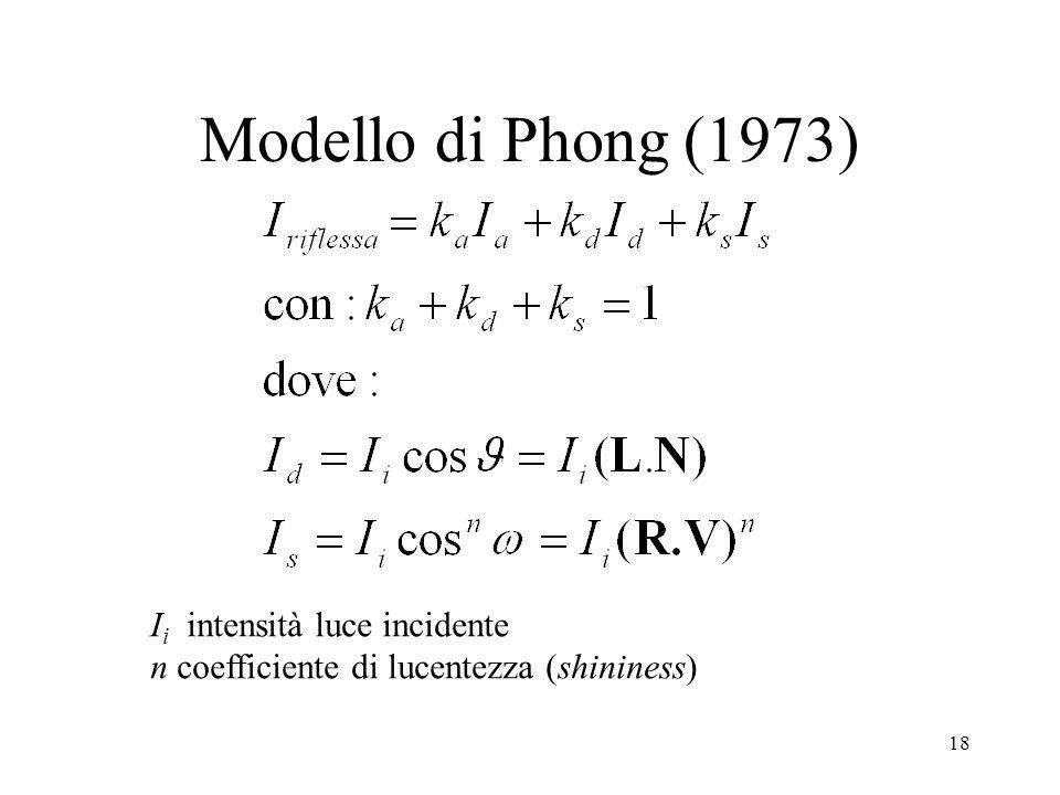 18 Modello di Phong (1973) I i intensità luce incidente n coefficiente di lucentezza (shininess)