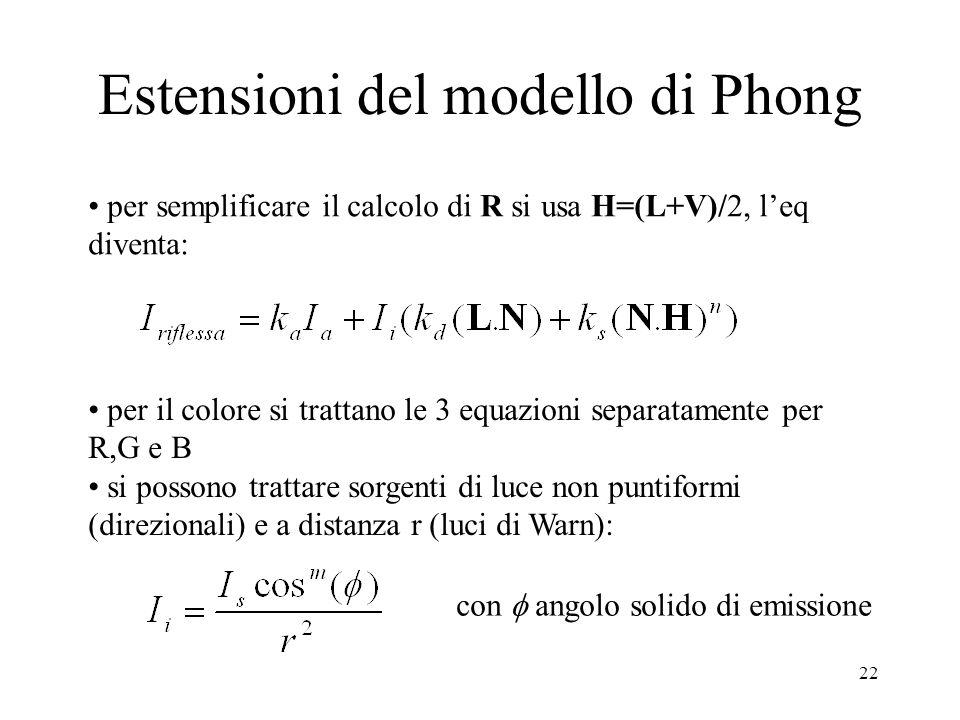 22 Estensioni del modello di Phong per semplificare il calcolo di R si usa H=(L+V)/2, leq diventa: per il colore si trattano le 3 equazioni separatame