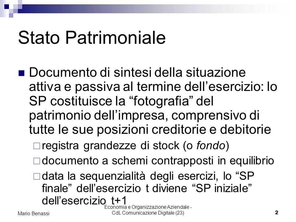 Economia e Organizzazione Aziendale - CdL Comunicazione Digitale (23)3 Mario Benassi Stato Patrimoniale Crediti vs soci x vers.
