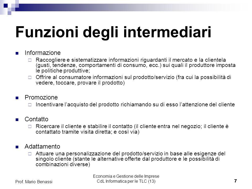 Economia e Gestione delle Imprese CdL Informatica per le TLC (13)7 Prof.