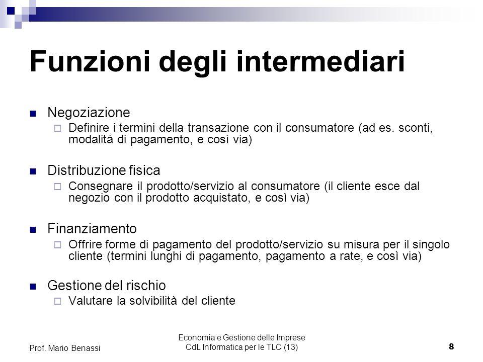Economia e Gestione delle Imprese CdL Informatica per le TLC (13)9 Prof.