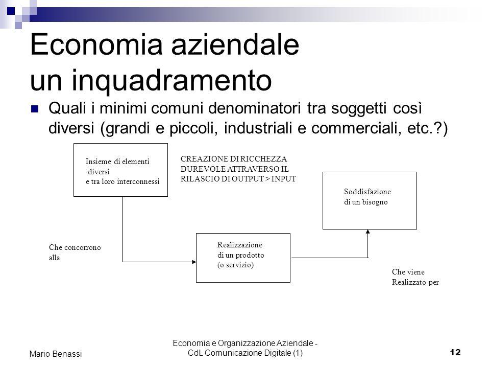 Economia e Organizzazione Aziendale - CdL Comunicazione Digitale (1)12 Mario Benassi Economia aziendale un inquadramento Quali i minimi comuni denomin
