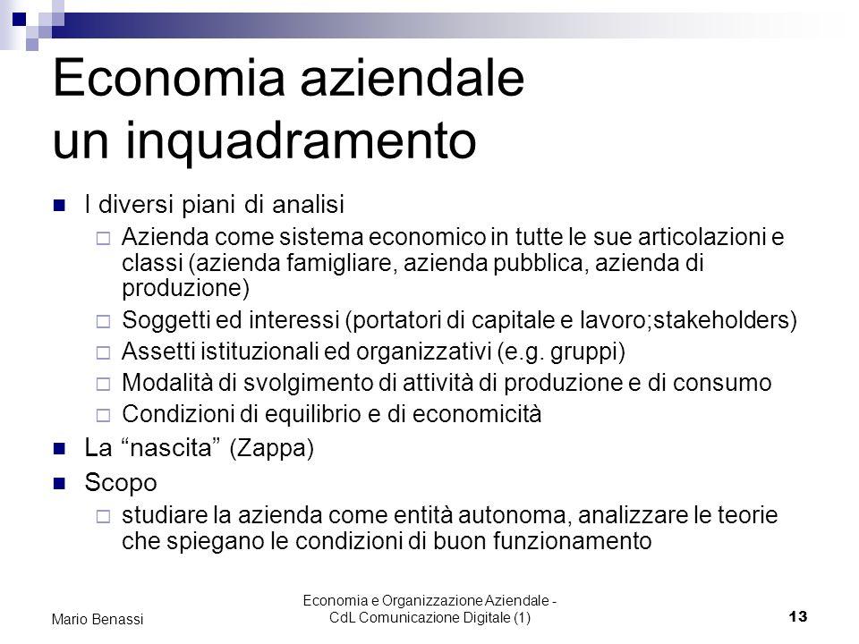 Economia e Organizzazione Aziendale - CdL Comunicazione Digitale (1)13 Mario Benassi Economia aziendale un inquadramento I diversi piani di analisi Az