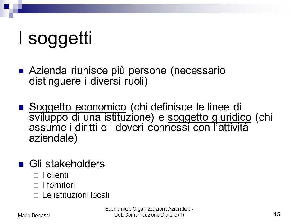 Economia e Organizzazione Aziendale - CdL Comunicazione Digitale (1)15 Mario Benassi I soggetti Azienda riunisce più persone (necessario distinguere i