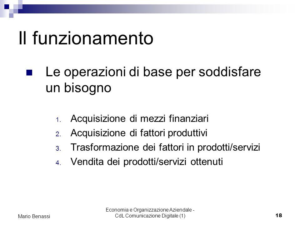 Economia e Organizzazione Aziendale - CdL Comunicazione Digitale (1)18 Mario Benassi Il funzionamento Le operazioni di base per soddisfare un bisogno