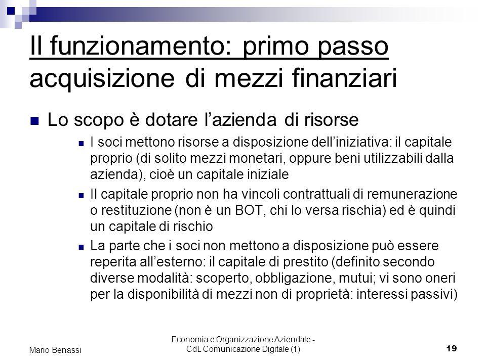 Economia e Organizzazione Aziendale - CdL Comunicazione Digitale (1)19 Mario Benassi Il funzionamento: primo passo acquisizione di mezzi finanziari Lo