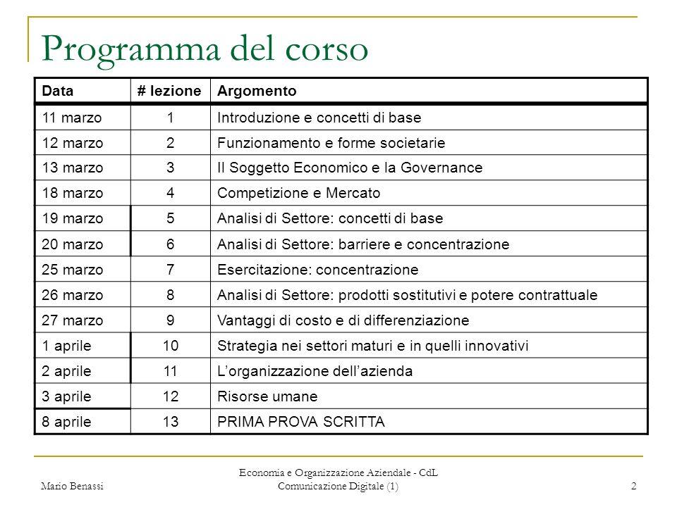 Mario Benassi Economia e Organizzazione Aziendale - CdL Comunicazione Digitale (1) 2 Programma del corso 11 marzo1Introduzione e concetti di base 12 m