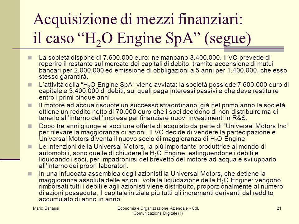 Mario Benassi Economia e Organizzazione Aziendale - CdL Comunicazione Digitale (1) 21 Acquisizione di mezzi finanziari: il caso H 2 O Engine SpA (segu