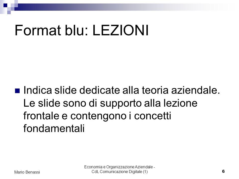 Economia e Organizzazione Aziendale - CdL Comunicazione Digitale (1)6 Mario Benassi Format blu: LEZIONI Indica slide dedicate alla teoria aziendale. L