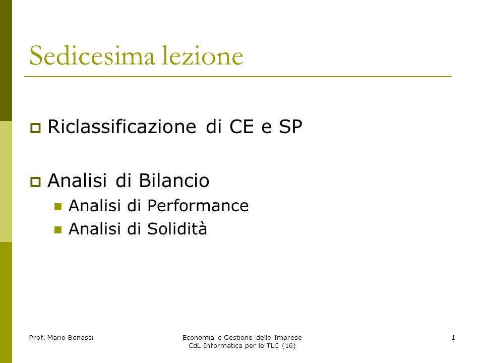 Prof. Mario BenassiEconomia e Gestione delle Imprese CdL Informatica per le TLC (16) 1 Sedicesima lezione Riclassificazione di CE e SP Analisi di Bila